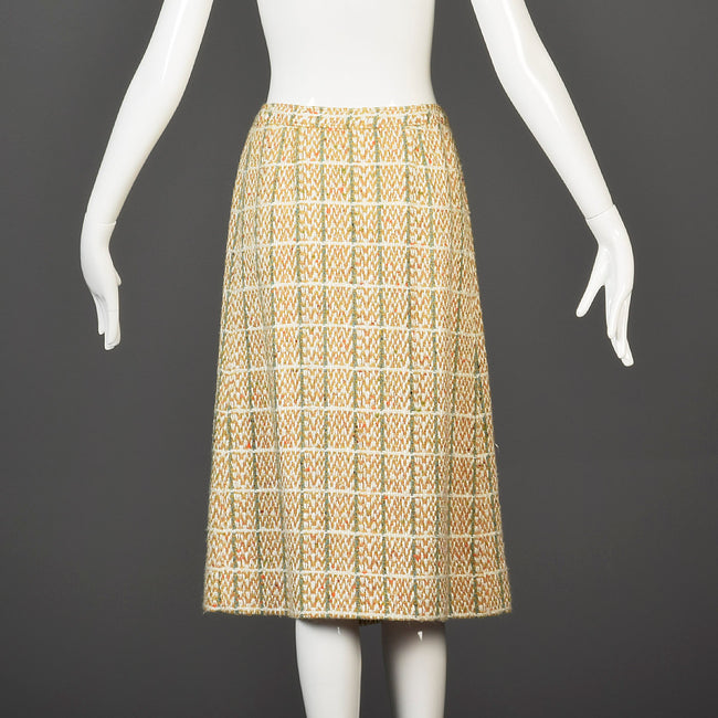 1960s Courreges Plaid Tweed A-Line Skirt