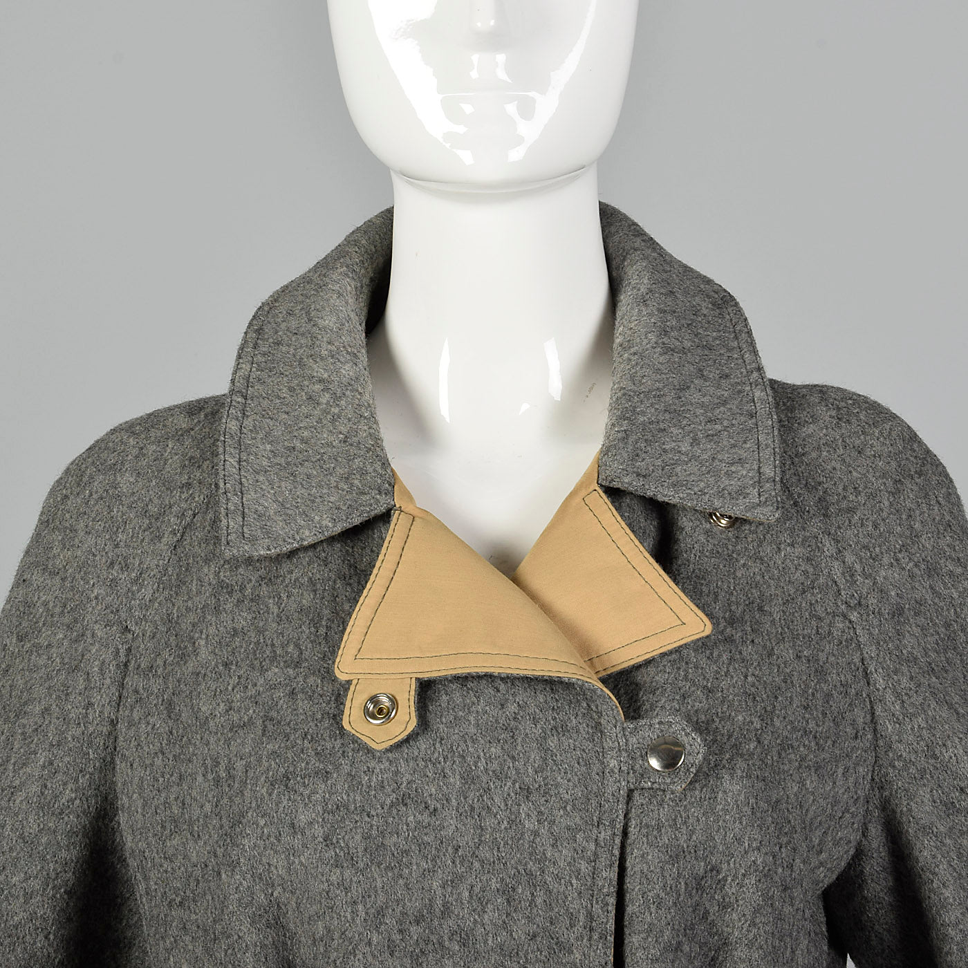 1970s Wool and Canvas Trench Coat with Snap Closures