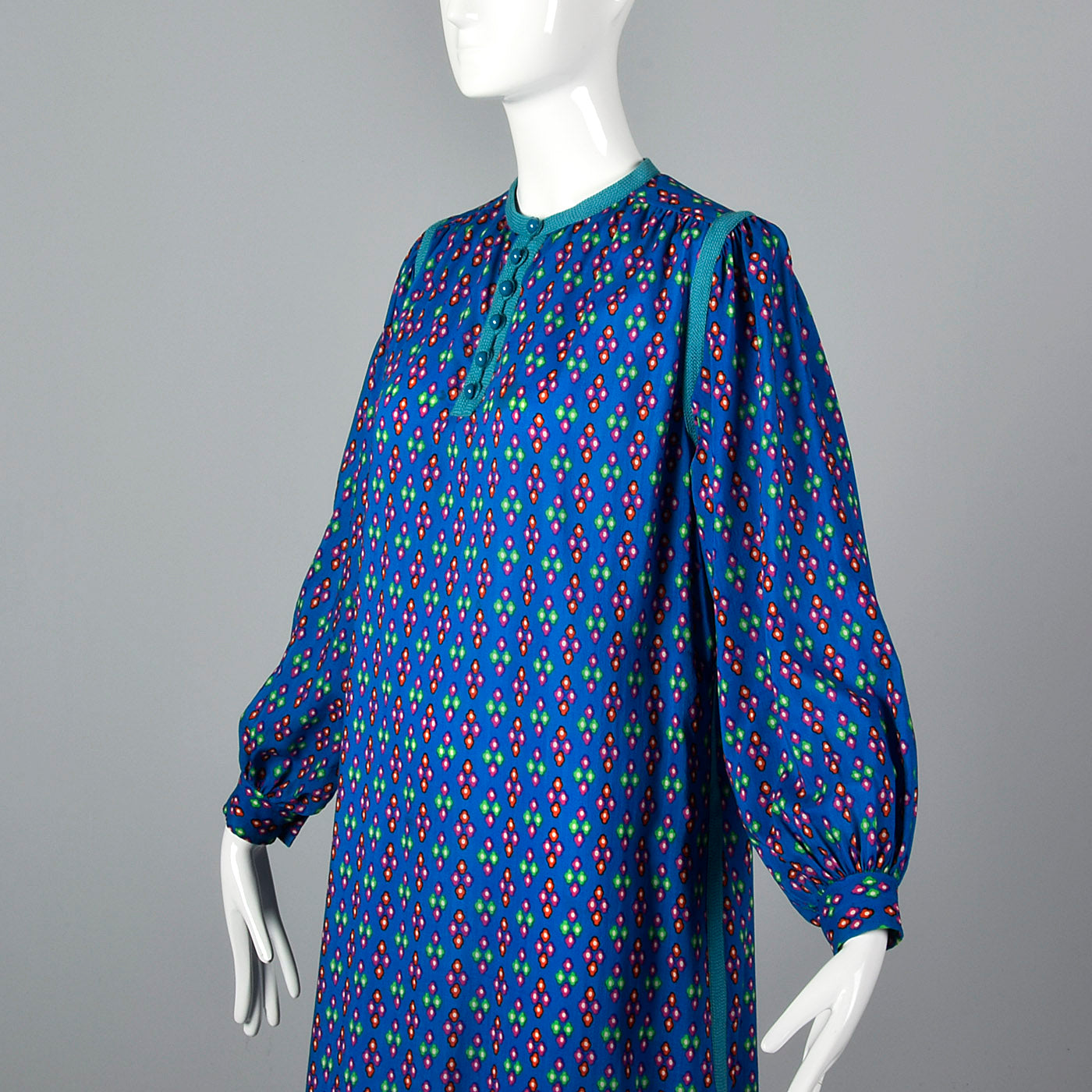 1976 Yves Saint Laurent Rive Gauche Russian Collection Blue Wool Dress