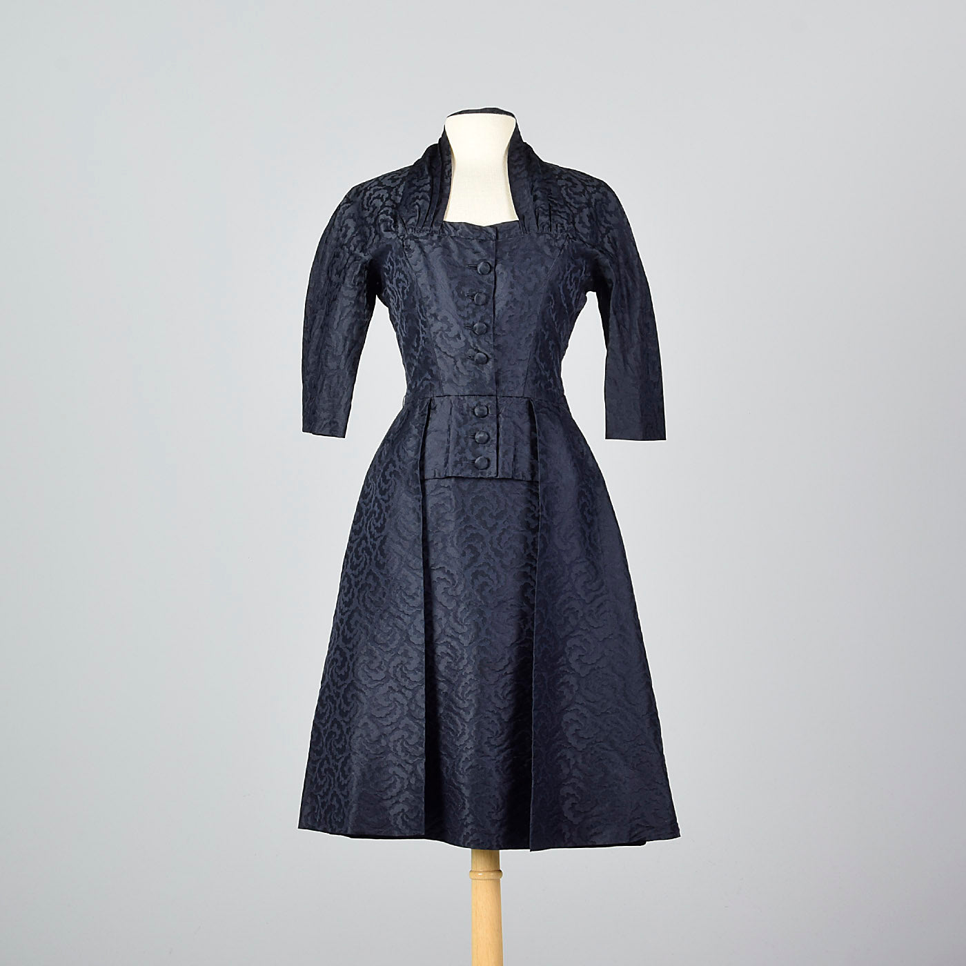 1950s Pierre Balmain Navy Blue Silk Damask Cocktail Dress