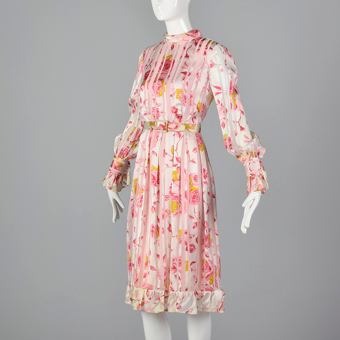 Medium 1970s Christian Dior Pink Floral Stripe Dress Long Sleeve