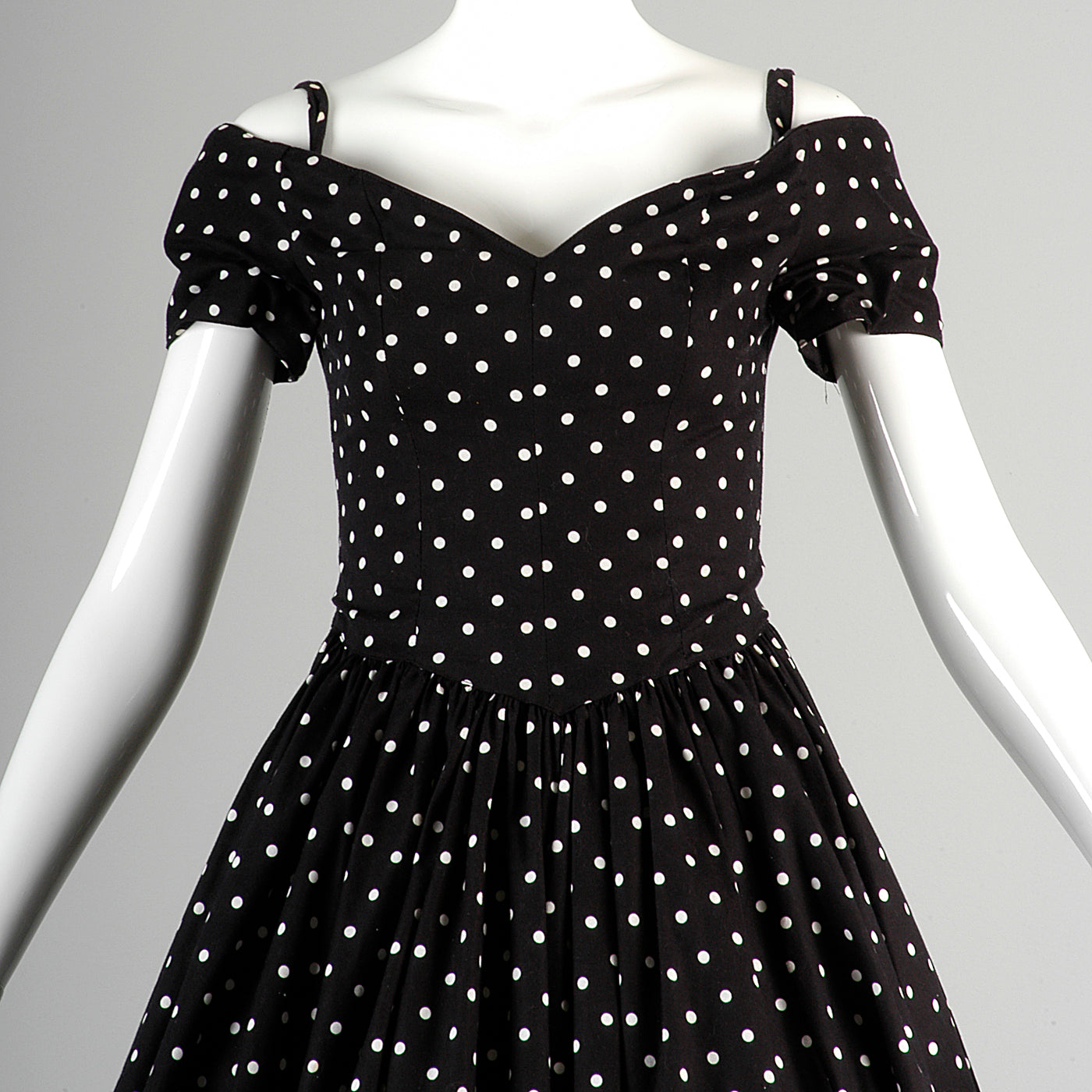 1980s I. Magnin Off Shoulder Party Dress in Black with White Polka Dots