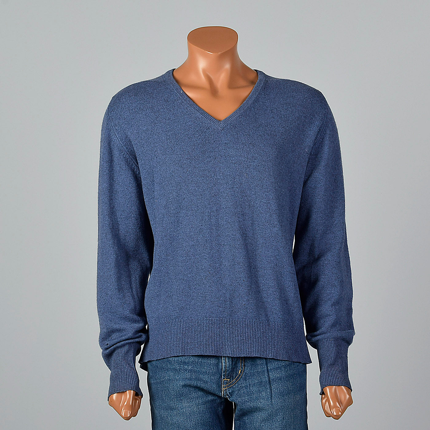 1970s Mens Blue Cashmere Sweater with V Neck