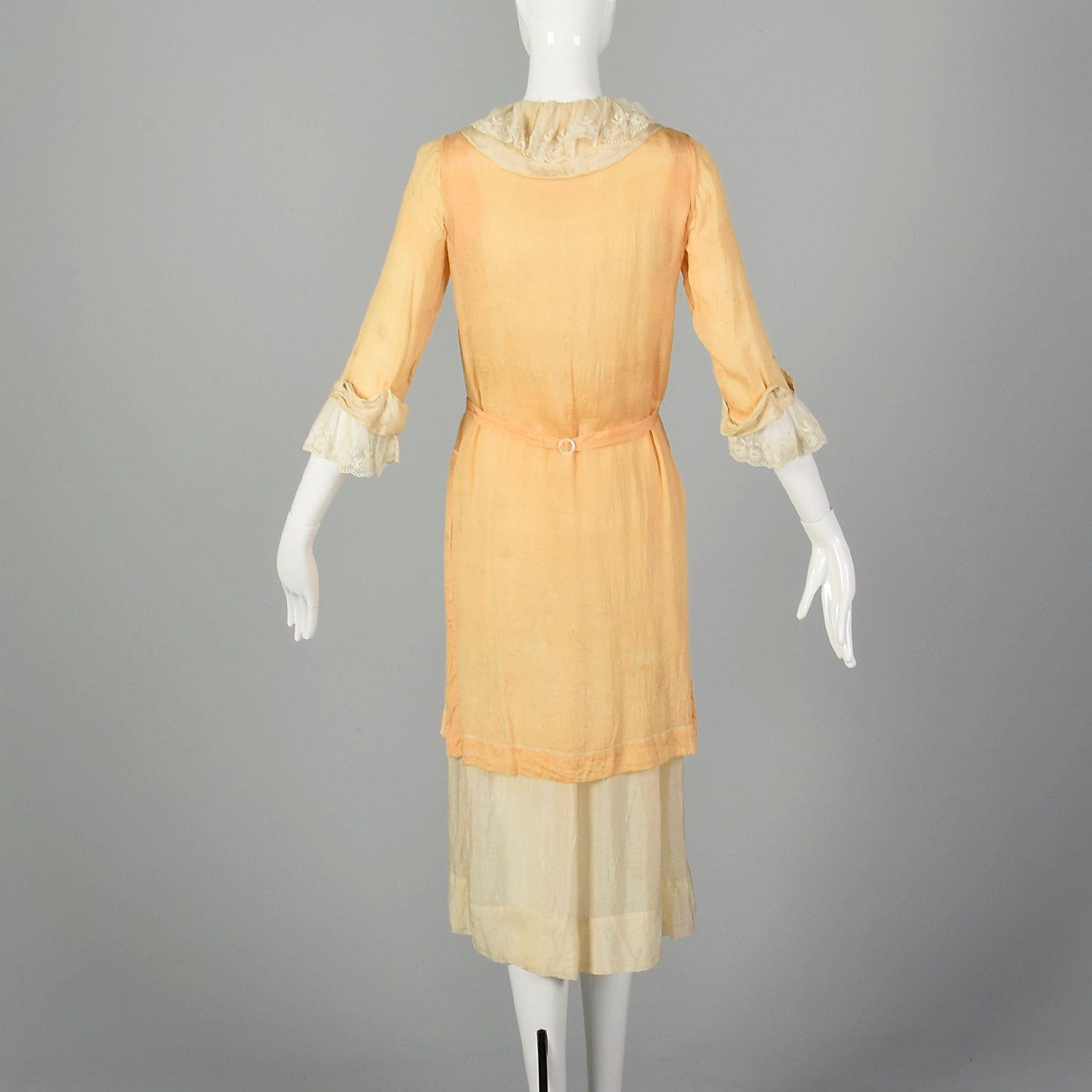 1910s Edwardian Coral and Ivory Day Dress