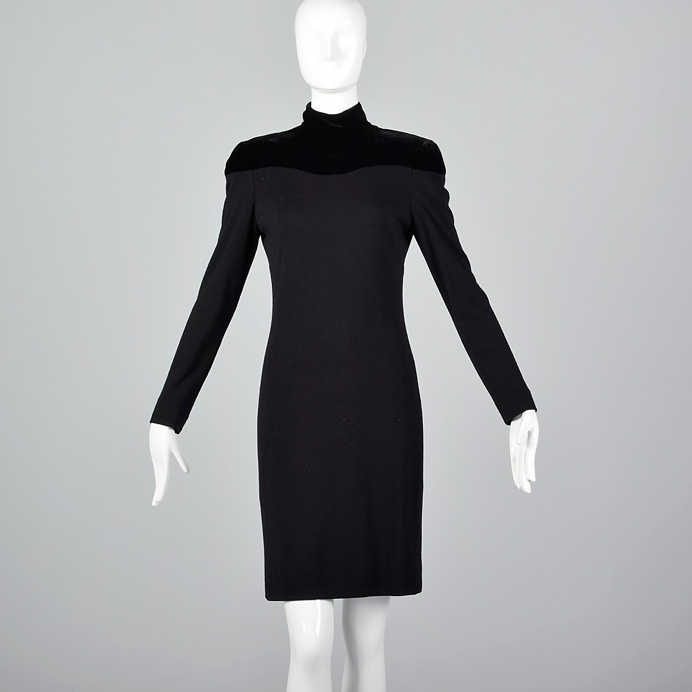 Lanvin Tight Black Pencil Dress with Velvet Shoulders