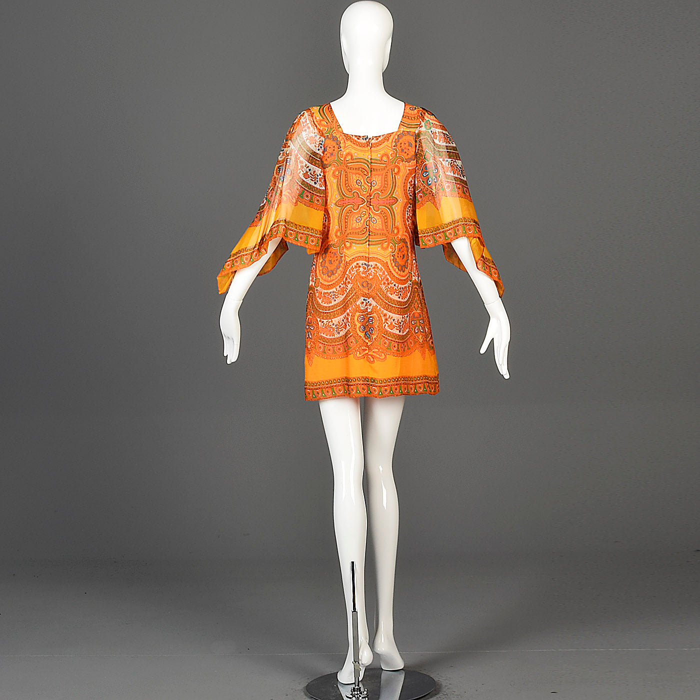 1960s Saks Fifth Avenue Silk Micro Mini Dress with Angel Sleeves