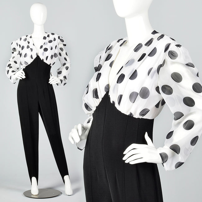 1980s Stirrup Pants Jumpsuit with Polka Dots