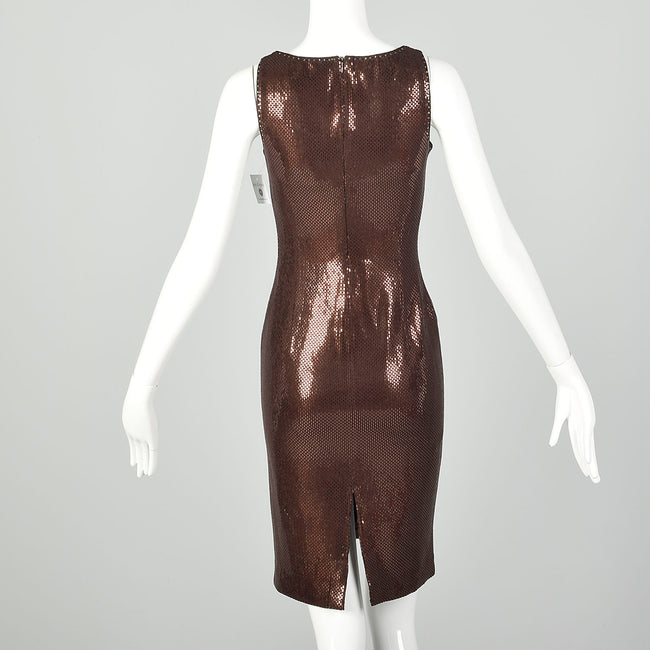 XS St John Couture Cocktail Mini Dress Designer Sleeveless Knit Brown Paillettes