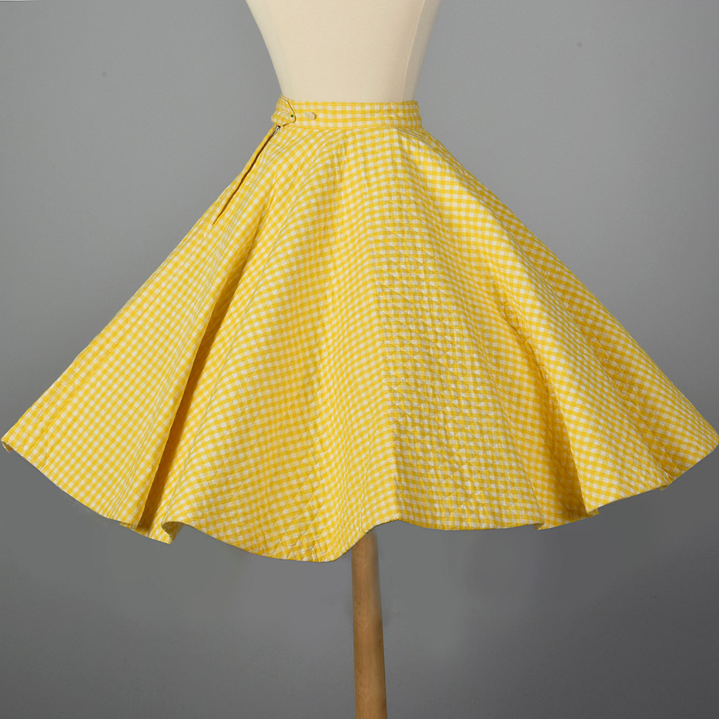 1950s Yellow Gingham Quilted Circle Skirt