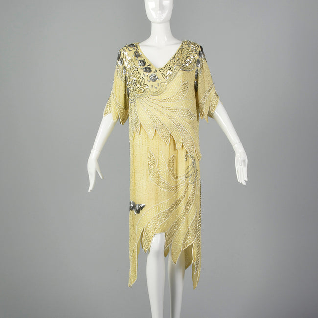 197adf03 Large 1980s Beaded Two Piece Flapper Style Dress