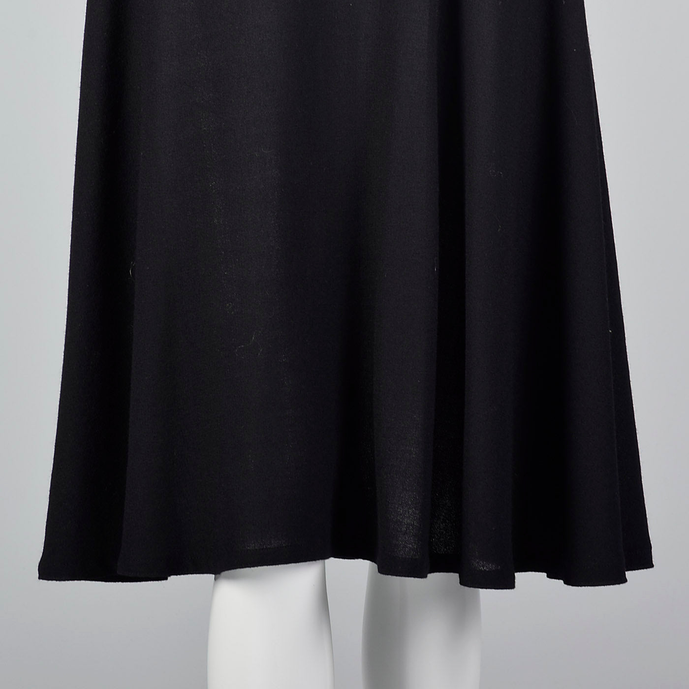 1970s Adele Simpson Black Wool Dress with Drop Waist
