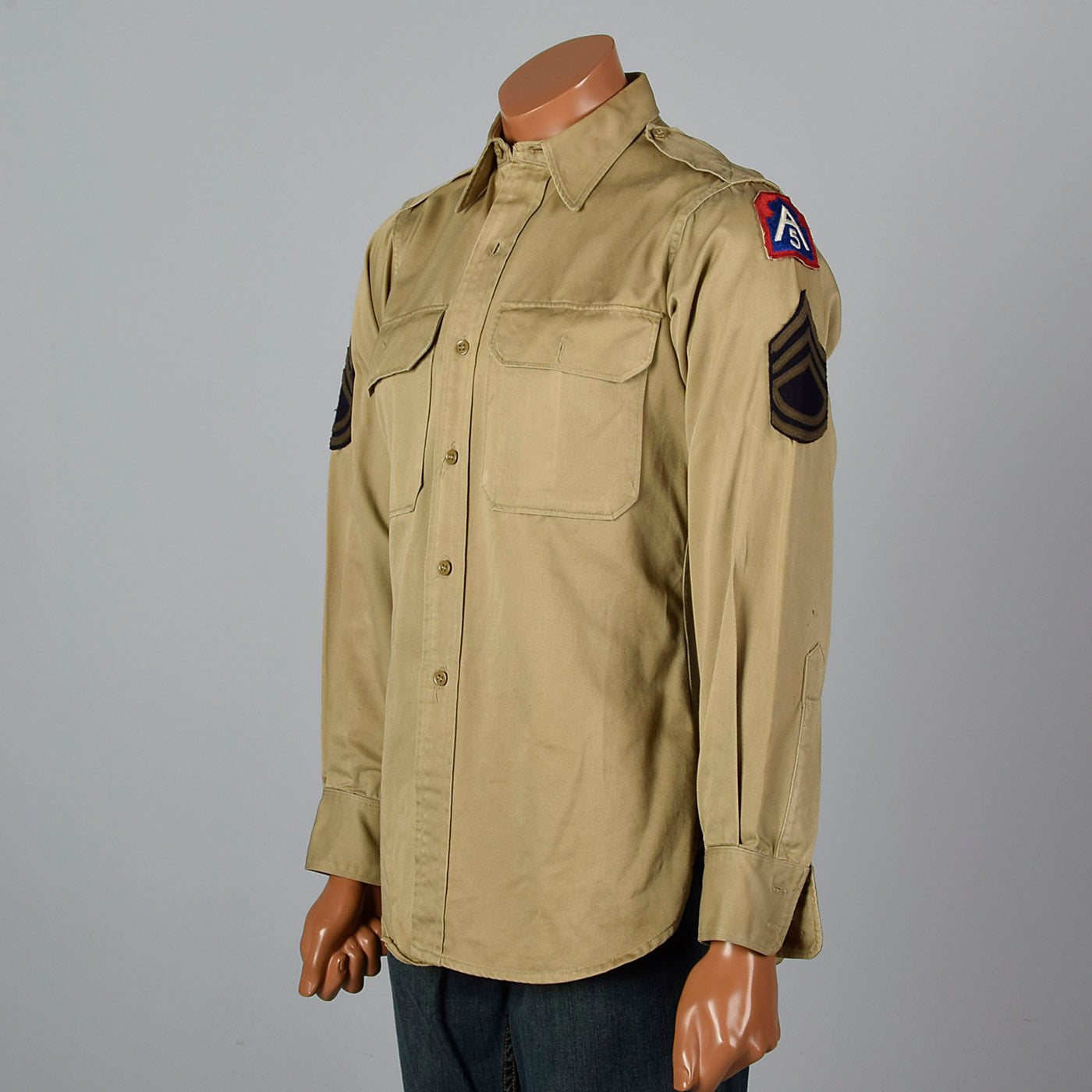 1940s Cotton US Military Shirt with Patches