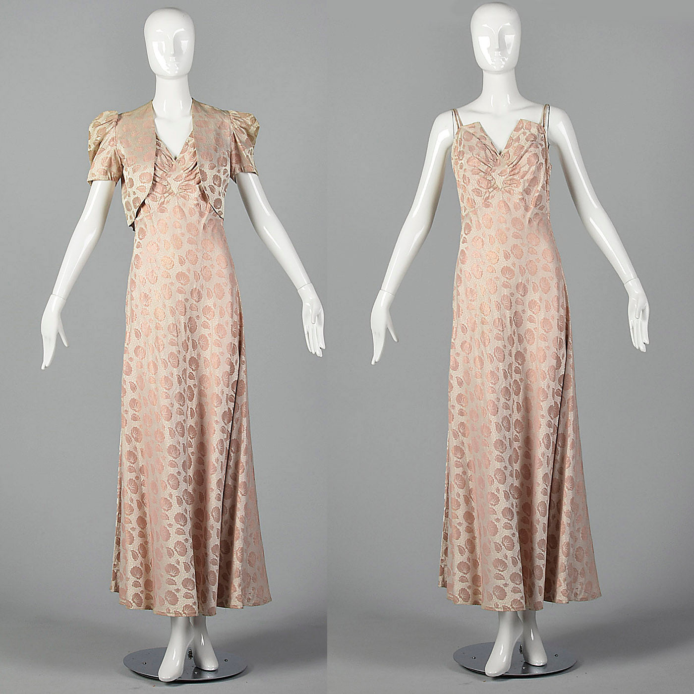 1940s Blush Evening Gown with Dramatic Bust