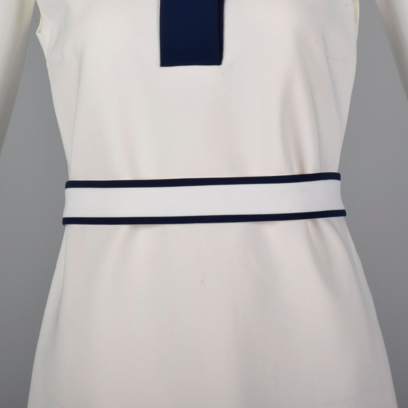 Deadstock Prada White Shift Dress with Navy Trim