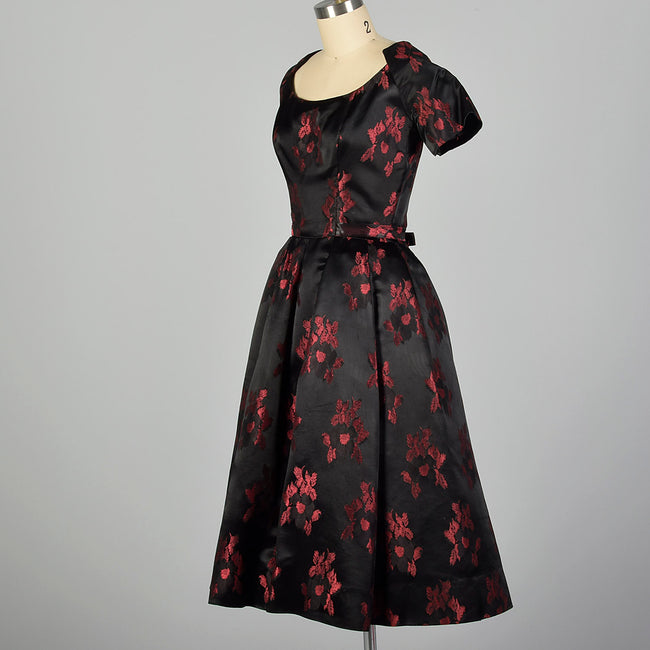 Small Suzy Perette 1950s Dress Black and Red Floral Silk Brocade with Built in Crinoline