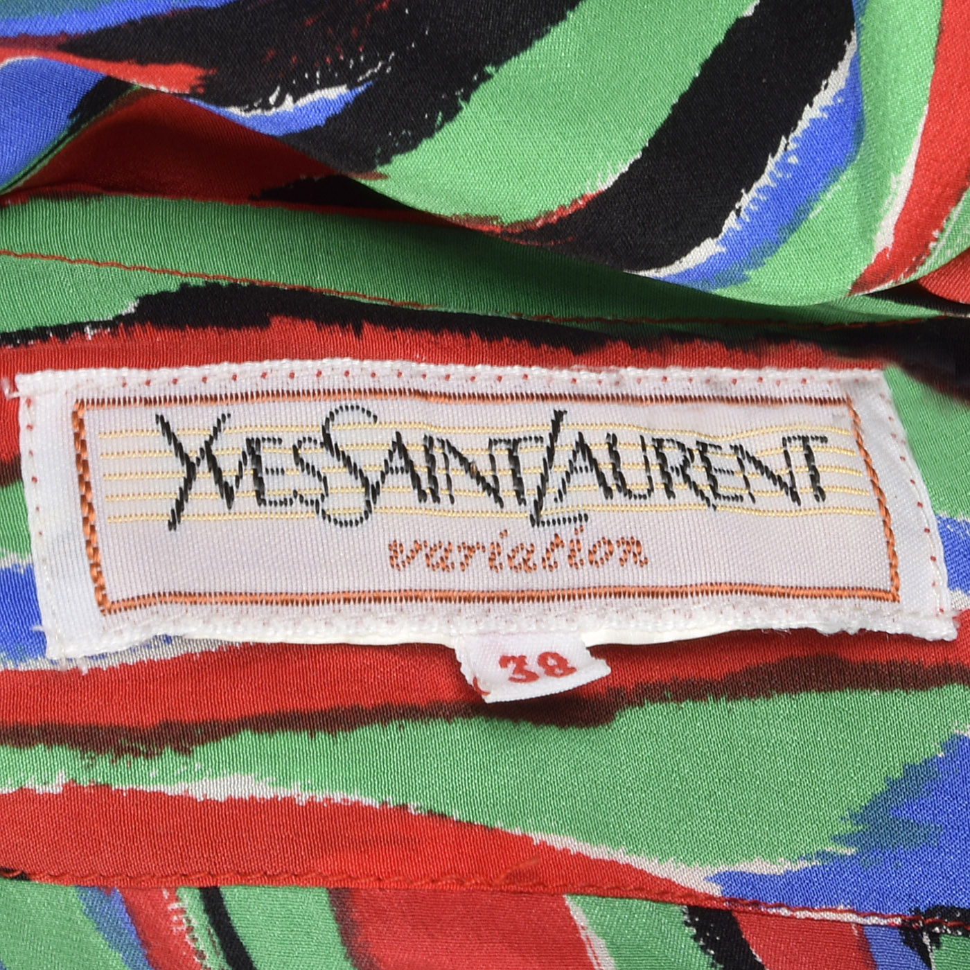 1980s Yves Saint Laurent Colorful Stripe Print Dress