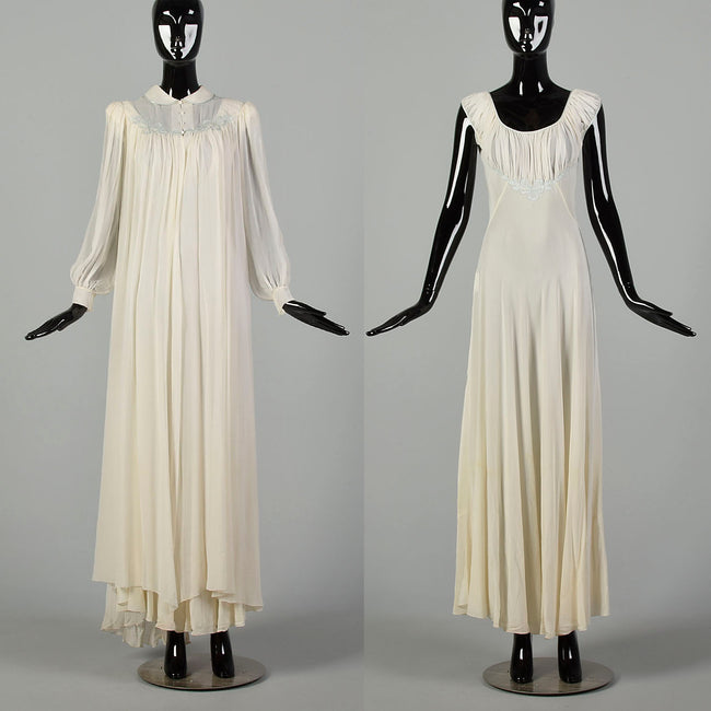 Small 1930s Silk Peignoir Set Bias Cut Nightgown Honeymoon Lingerie