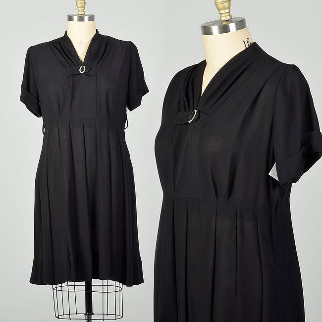 3XL 1950s Little Black Dress Short Sleeve Plus Size Sheer Volup LBD