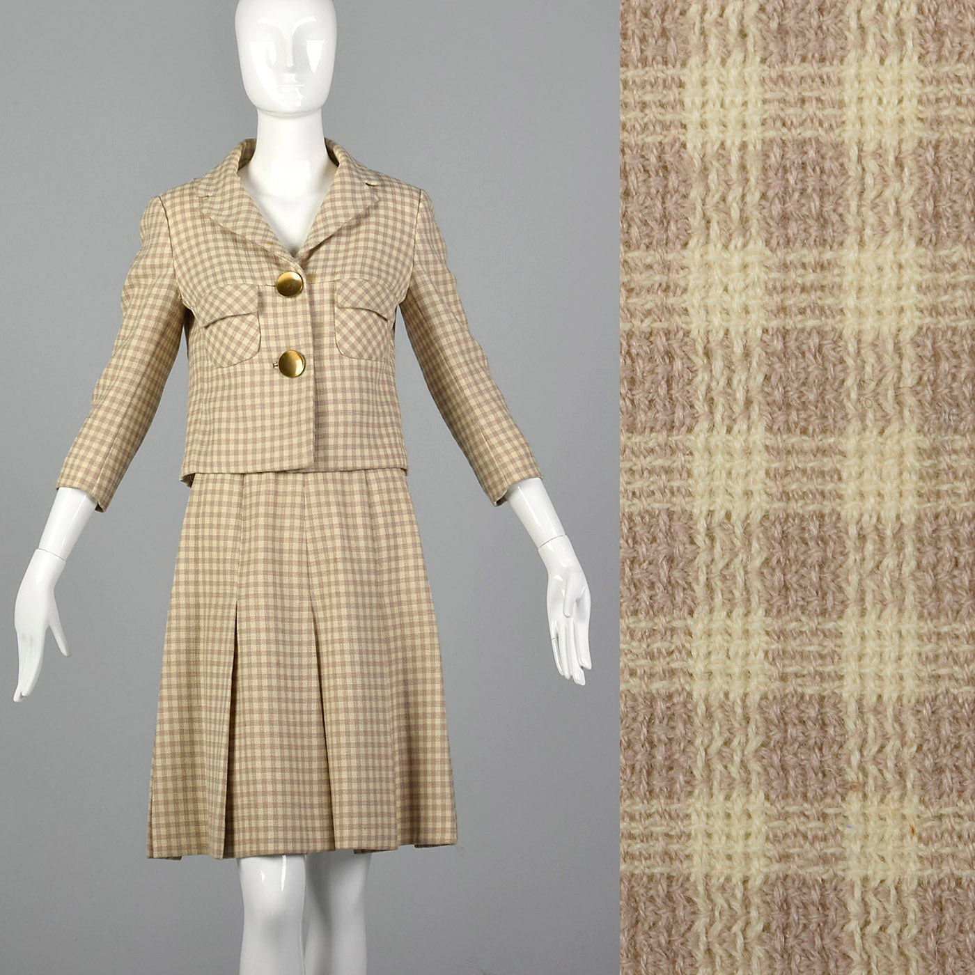 1960s Brown and Cream Skirt Suit
