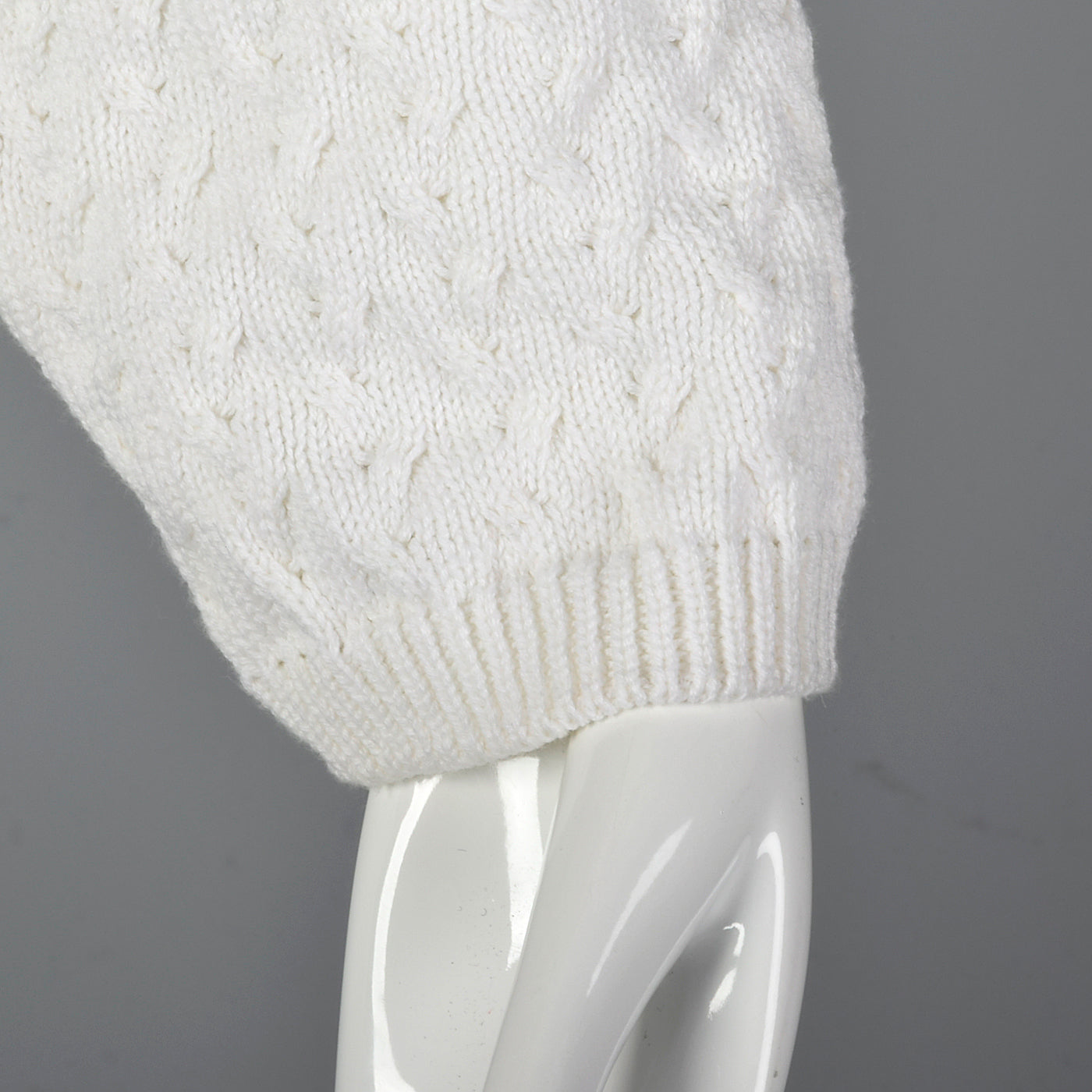 1980s Deadstock White Cable Knit Sweater