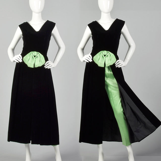 XS 1960s Black and Green Dress and Pants Hostess Set