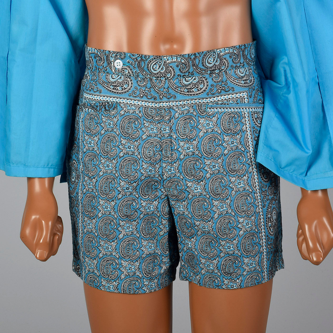 Deadstock 1950s Mens Cabana Set, Loop Collar Shirt & Matching Shorts