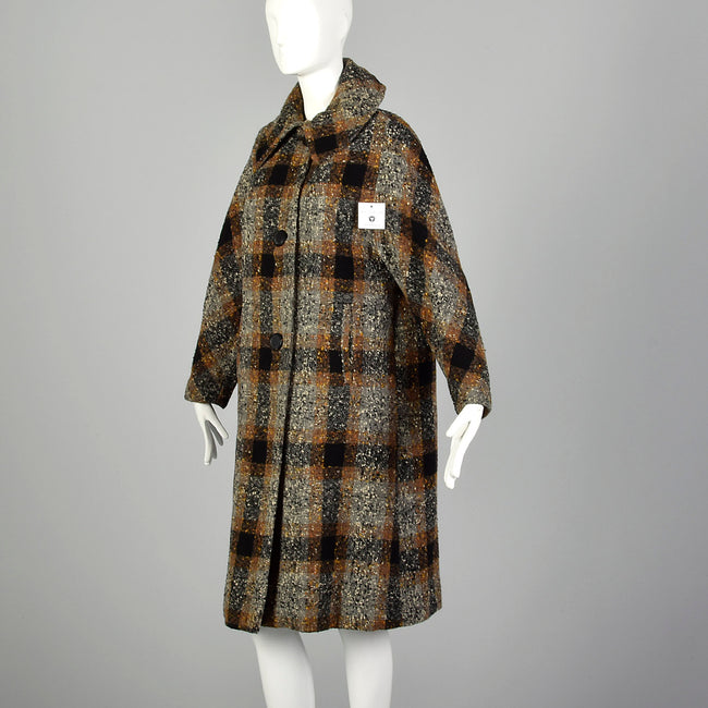 XL 1950s Coat Black Brown Flecked Tweed Overcoat Plaid Winter Wool Plush Lined Outerwear