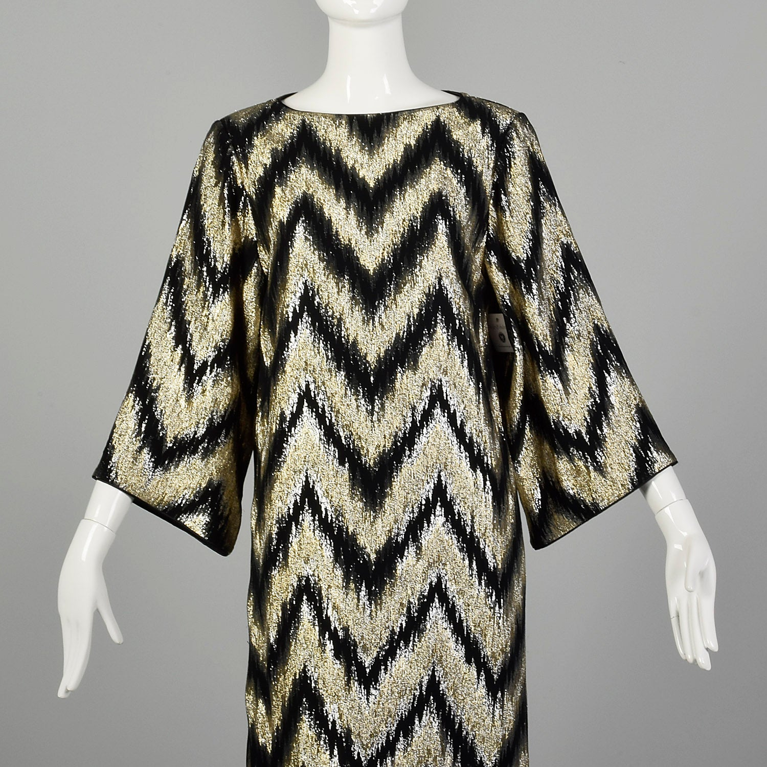 Small 1970s Metallic Kaftan Wide Sleeve Flowy Gold and Black Maxi Dress