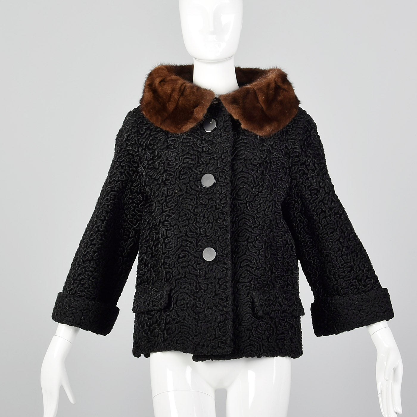 1950s Persian Lamb Jacket with Mink Collar