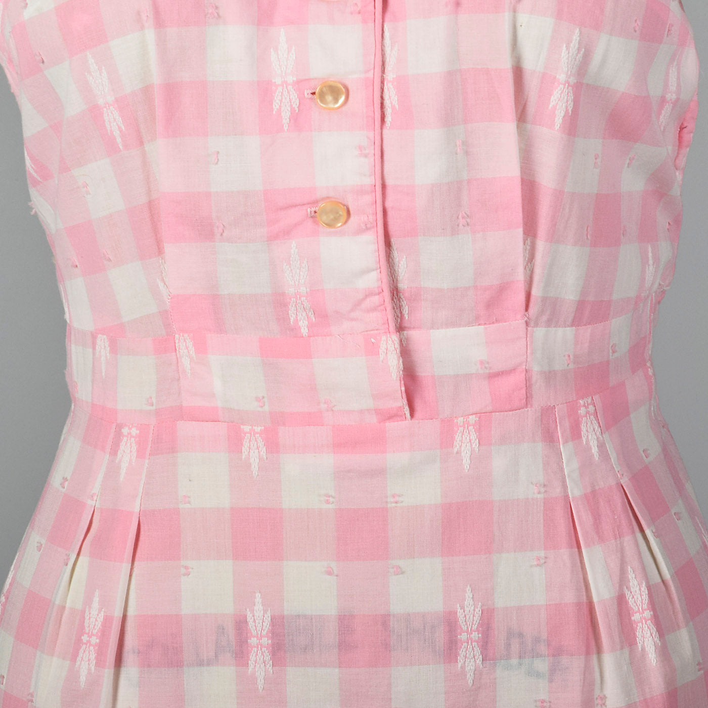 1950s Pink Gingham Pencil Dress