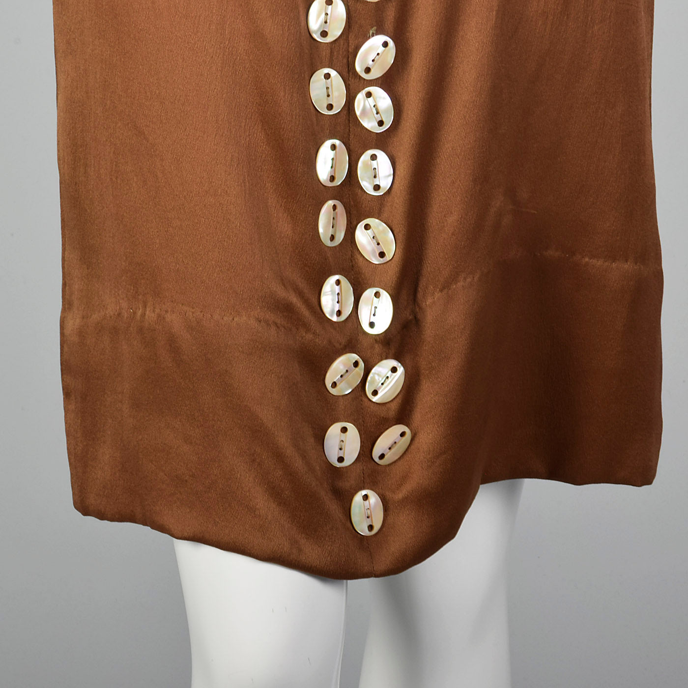1920s Brown Silk Dress with Mother of Pearl Buttons