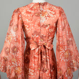 XS 1970s Pink Boho Maxi Dress Hippie Floral Print Bell Sleeves with Tieback Waist