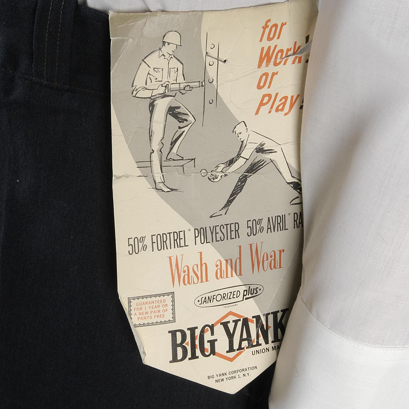 Deadstock 1960s Men's Big Yank Sanforized Blue Twill Workwear Pants