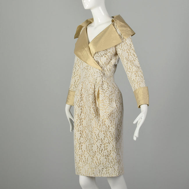 Small 1990s Pilar Rossi Lace Dress Metallic Gold Lamé Portrait Collar