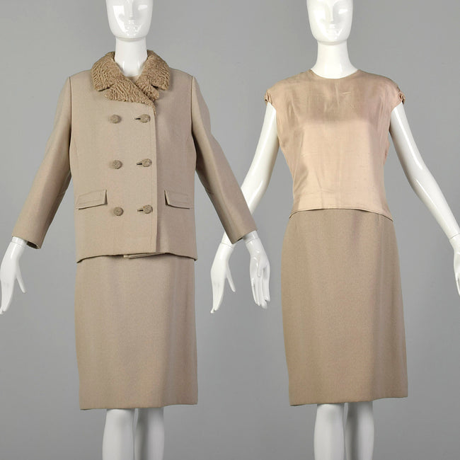 Medium 1960s Tan Three Piece Wool Skirt Suit