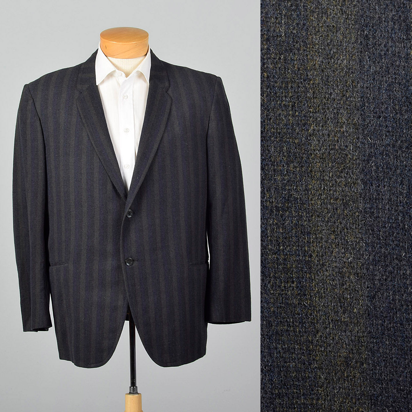 1950s Gray and Blue Wool Striped Jacket