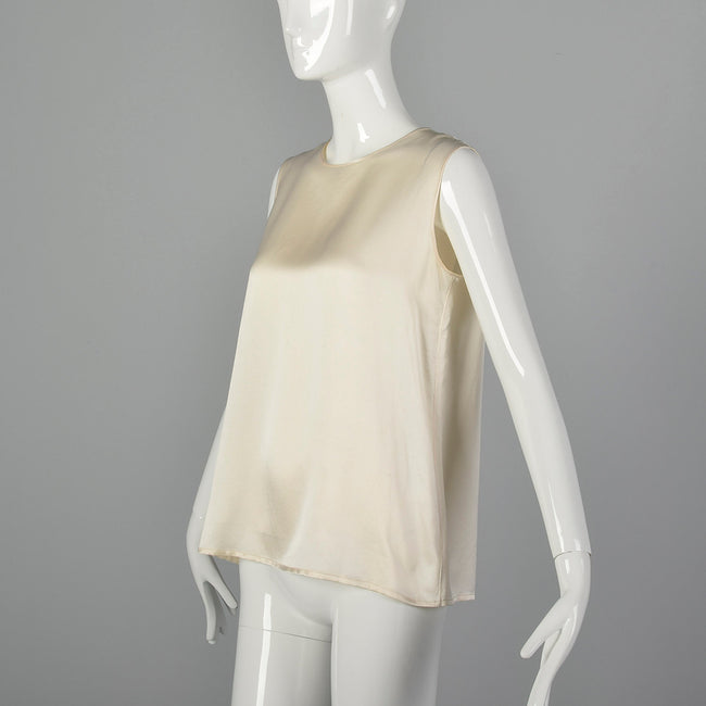 Medium Chanel Ivory Silk Shell Top 1980s