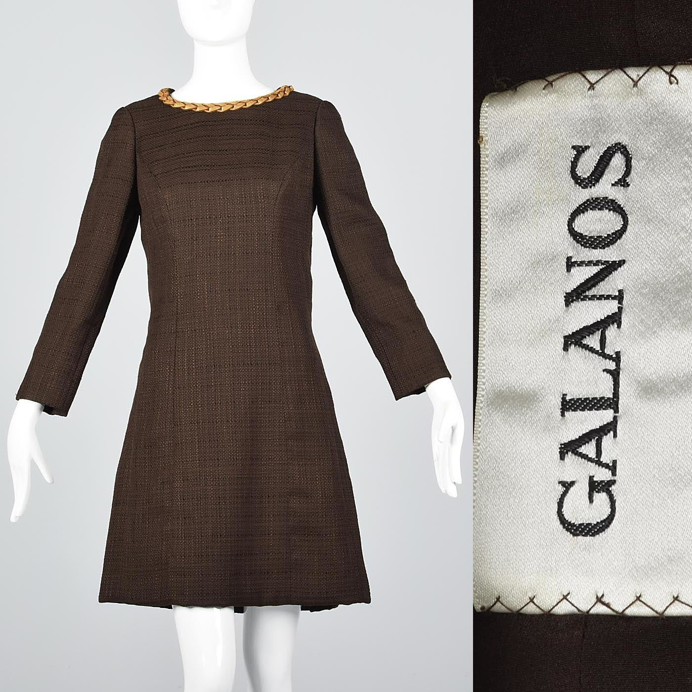 Casual 1960s Galanos Mod Bohemian Shift Dress