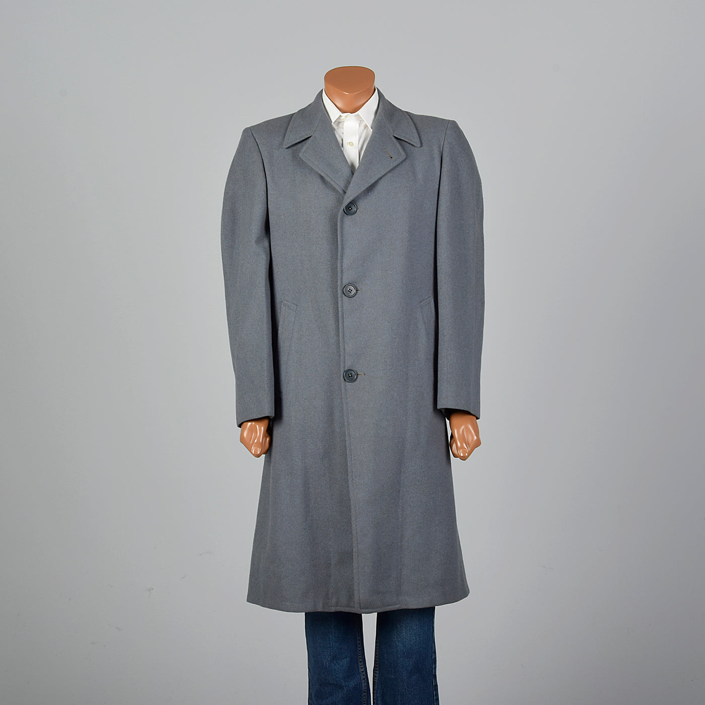 1950s Mens Gray and Blue Overcoat