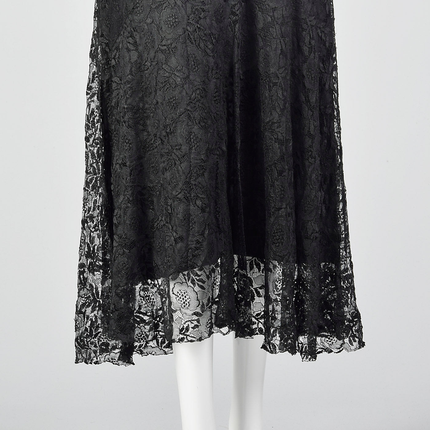 1930s Black Lace Dress with Sheer Flutter Sleeves