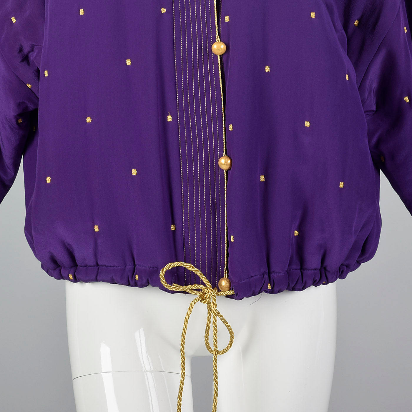 1990s Ellen Tracy Purple Silk Jacket with Metallic Gold Details