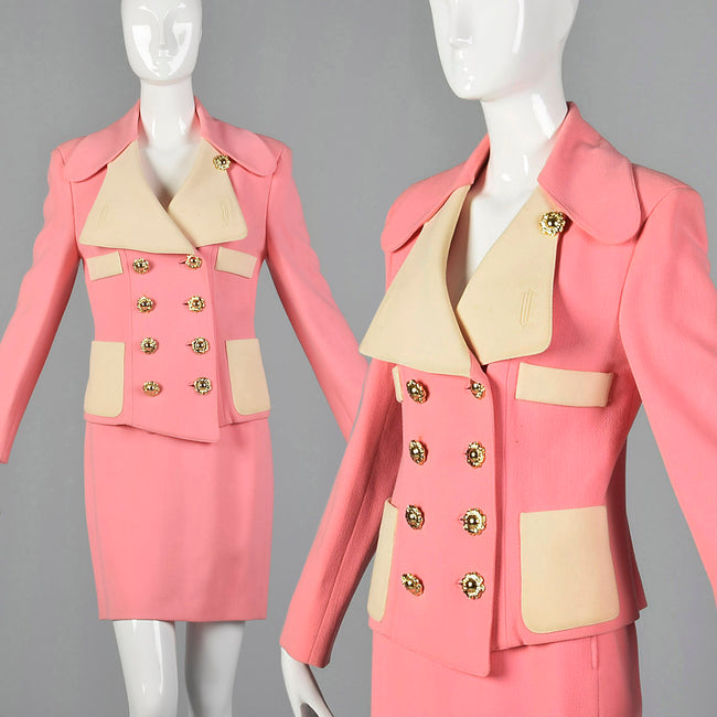 XS Christian LaCroix 1980s Pink Skirt Suit