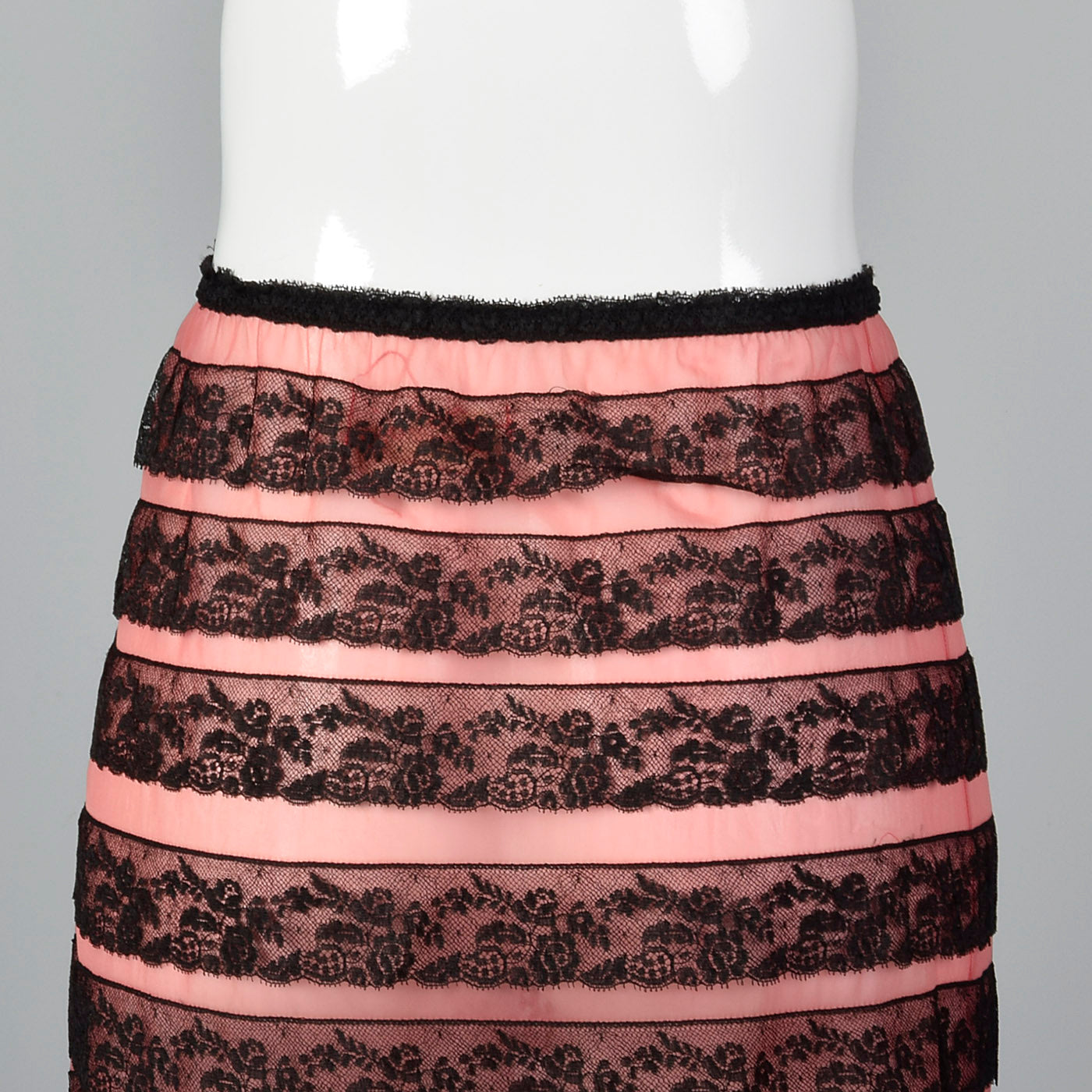 1950s Schiaparelli Pink Half Slip with Layered Black Lace