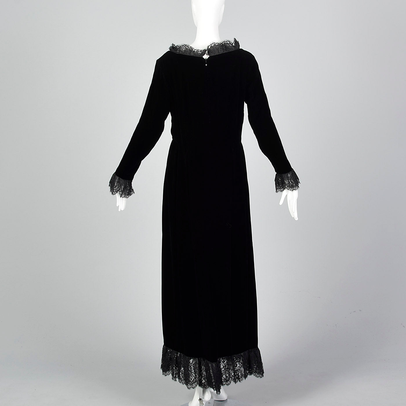 1970s Richilene Black Velvet Evening Dress with Lace Trim