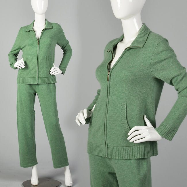 Small 1990s Green Cashmere Two Piece Set Pants and Jacket