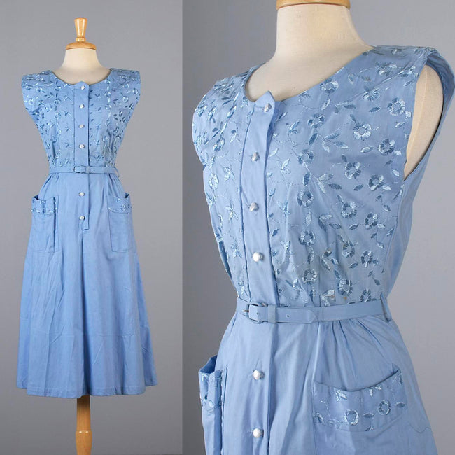 1950s Blue Day Dress with Floral Embroidery