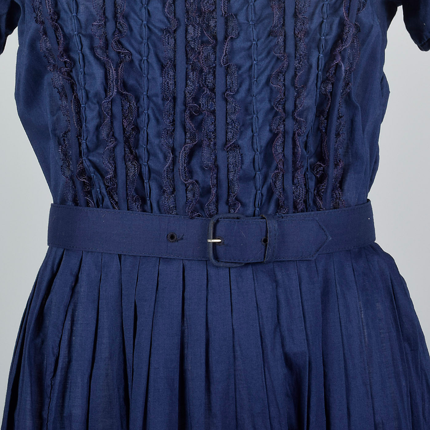 1950s Navy Cotton Day Dress with Ruffle Front