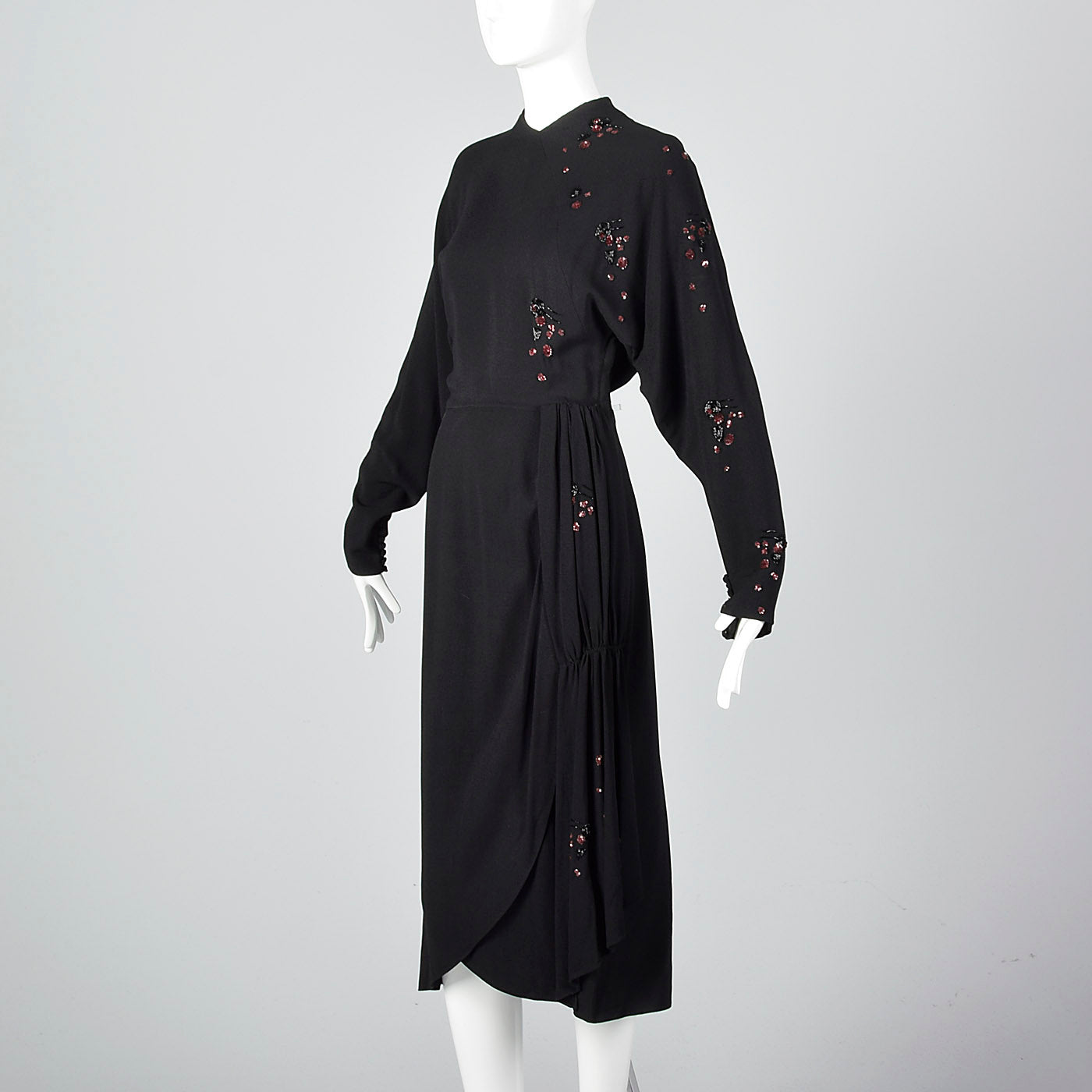 1940s Black Dress with Sequin and Beading Details
