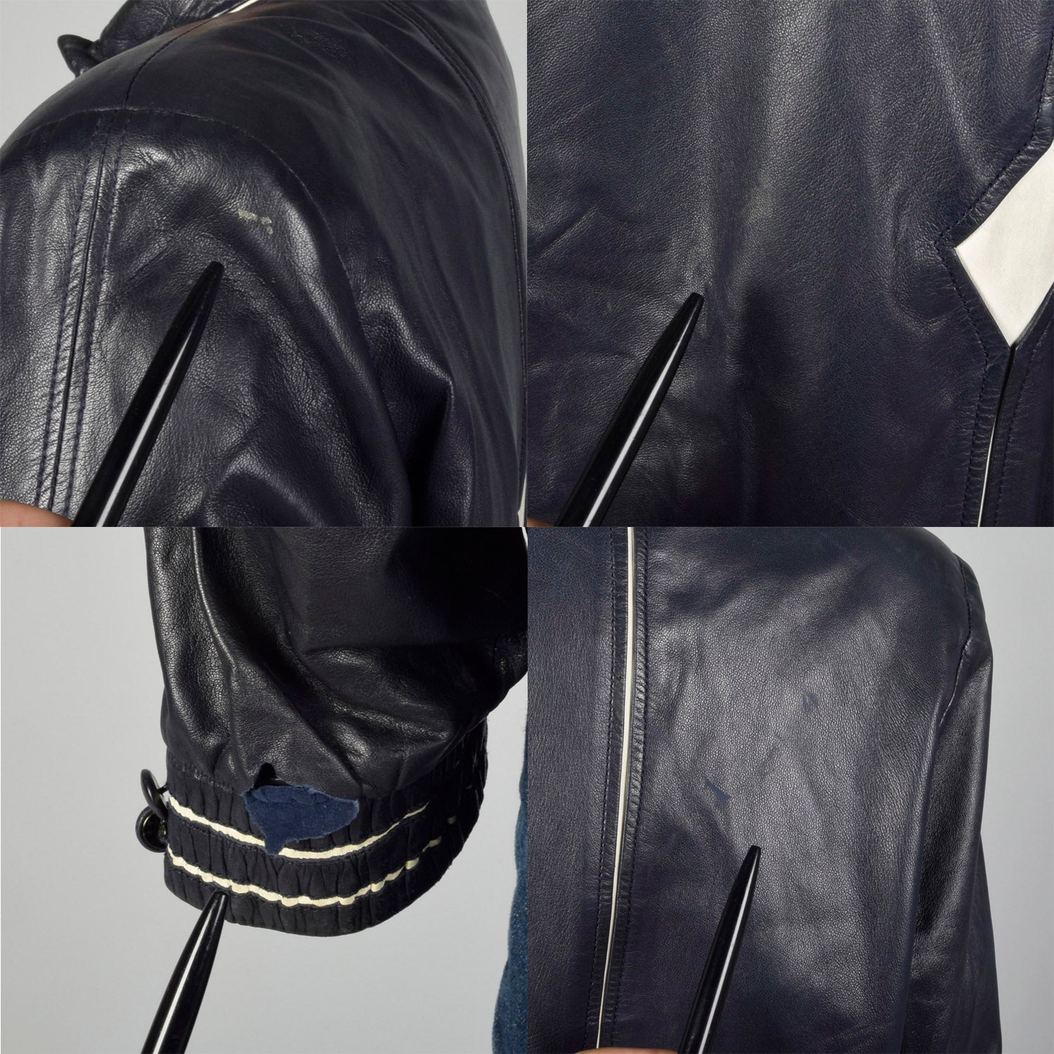 Large Battaglia 1980s Rockabilly Navy Leather Jacket