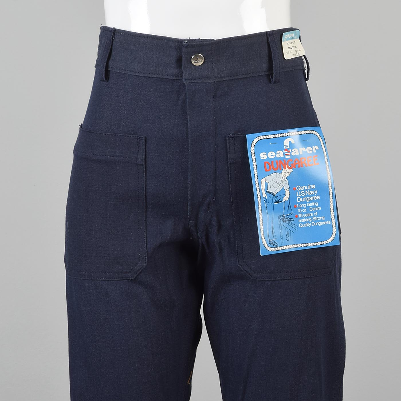 30x38 Extra Long Seafarer Bell Bottoms High Waist Indigo Denim